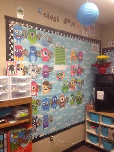 Class Dojo wall. Little dojo monsters holding up signs that keep track of their points. Reward poster in the center.