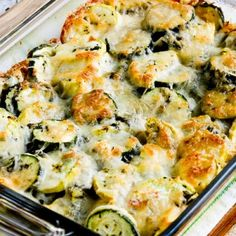 Low-Carb Cheesy Baked Cauliflower Tots (Video) - Kalyn's Kitchen You'll love this Low-Carb Easy Cheesy Zucchini Bake which is most popular zucchini recipe of the Top Ten Low-Carb Zucchini Recipes on Kalyn's Kitchen! Low Carb Recipes, Diet Recipes, Cooking Recipes, Healthy Recipes, Cheesy Recipes, Cheesy Zucchini Bake, Grilled Zucchini, Baked Zucchini Parmesan, Stuffed Zucchini