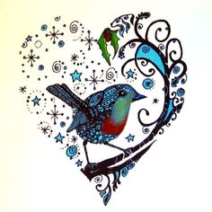 Inspiring exquisite bluebird sitting on the branch surrounded with stars. Creative heart design.
