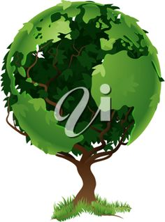 Environmental concept. Tree forming the world globe in its branches and leaves