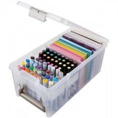 ArtBin Marker Storage Satchel with Tray and 2 Dividers; Clear Storage Container - Craft Supplies Storage And Organization Products Art Supplies Storage, Craft Room Storage, Craft Supplies, School Supplies, Organize Art Supplies, Craft Rooms, Marker Storage, Sticker Storage, Stamp Storage