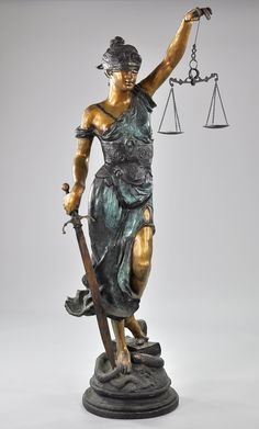 A Large Bronze Statue of Themis, Blind Justice