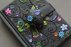 Gothic Journal Day of the dead Hand Made polymer clay by amandarinduck