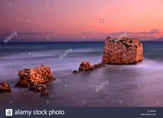 """Stock Photo - Ruins of the ancient walls at the exit of Canal of Nea Poteidaea, into the sea Chalkidiki (or """"Halkidiki""""), Macedonia, Greece Macedonia Greece, Long Exposure, Walls, Stock Photos, Sea, The Ocean, Ocean"""