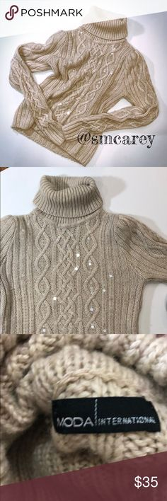 "GUC MODA INT OATMEAL TURTLENECK SWEATER L Gently used condition  Purchased new from Victoria Secret website  Oatmeal color with iridescent sequins on front  Measurements flat and approximate  Chest 18"" flat Length 21"" Victoria's Secret Sweaters Cowl & Turtlenecks"