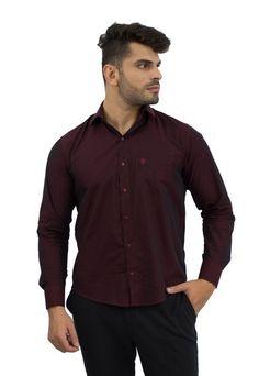 Camisa Social Masculina Marrom Escuro