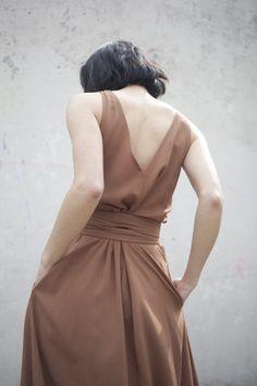 quality design a001b 5e03d Jesse Kamm Palma Dress in Almond   Oroboro   Brooklyn, New York Minimalist  Fashion Women