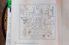 阿部勤著『中心のある家』より。「中心」と「回廊」で構成されていることがわかるイラストは、阿部さん自身が描いたもの。