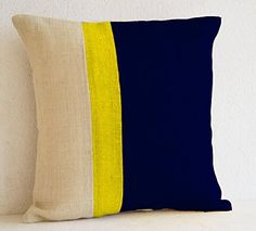"Navy Blue Colorblock Pillow Cover- Burlap Pillows Color Block - Navy Blue Decorative Cushion Cover-Navy Blue Yellow Ivory White Throw Pillow Covers -Navy Blue Euro Sham - Navy Blue Cushion Cover -Couch Pillow Cover (16"" x 16"") Amore Beaute http://www.amazon.com/dp/B00VK3SKI0/ref=cm_sw_r_pi_dp_cwYyvb1VQSSAV"