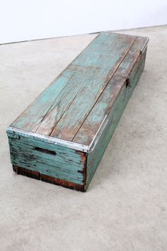 project idea:  Antique wood tool box / long wood trunk by 86home on Etsy, $300.00