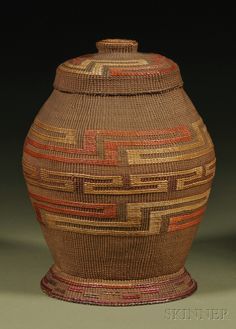 Tlingit Polychrome Twined Rattle-top Basket | In the form of a ginger jar, with bands of geometric design