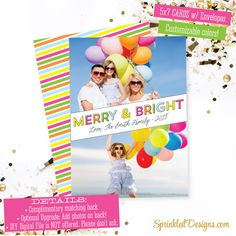 Merry & Bright Christmas Cards: Printed Family Kids Holiday Photo Card - 2 photos - Custom Personalized Holiday Card - SprinkledDesigns.com