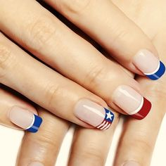 "If you're unfamiliar with nail trends and you hear the words ""coffin nails,"" what comes to mind? It's not nails with coffins drawn on them. It's long nails with a square tip, and the look has. Fingernail Designs, Nail Art Designs, French Nails, Holiday Nails, Christmas Nails, Hair And Nails, My Nails, Patriotic Nails, Manicure"