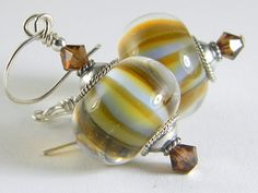'Artisan Handmade Lampwork Earrings Fall Sky Stripes' is going up for auction at  9am Thu, Nov 29 with a starting bid of $1.