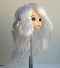 Pukifee wig white long wavy curly no bang handmade acrylic