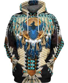 oneforus Men and Women 3D Print Native American Indian Sweatshirts Pullover Ethnic Totem Patterns Long Sleeves Sweatshirt Top