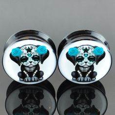 Day of the Dead Puppy Acrylic Plugs