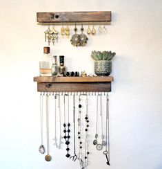 #DIYHomeDecor Necklace Storage, Necklace Holder, Jewellery Storage, Jewelry Holder, Wall Mount Jewelry Organizer, Jewelry Organization, Wood Earrings, Hanging Earrings, Earring Display