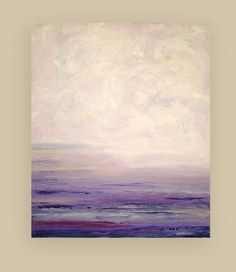This is an original painting by acrylic artist Ora Birenbaum. Beautiful soft shades of lavender, creams, and purples are accented with soft