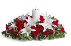 Our festive Christmas centerpieces will bring cheer to your home this season. Send Christmas flowers & fruit baskets delivered fresh by the holidays, guaranteed! Table Flower Arrangements, Christmas Flower Arrangements, Christmas Flowers, Christmas Centerpieces, Christmas Decorations, Holiday Decor, Candle Decorations, Christmas Ideas, Lily Centerpieces