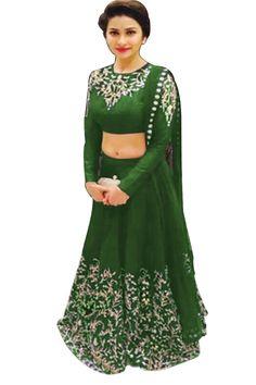 Green Semi Stitched Raw Silk Designer Lehenga Choli - Rs. 1870.00