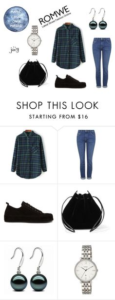 """""""Check Print Loose Green Blouse"""" by justjacy ❤ liked on Polyvore featuring Topshop, Ann Demeulemeester, Vanessa Seward, FOSSIL, romwe and contestentry"""