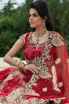 studded cutwork bridal lengha by www.homeindia.com