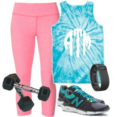 Monogrammed Tie Dye Tank Top from Marleylilly.com by marleylilly on Polyvore featuring Beyond Yoga, New Balance and Valor. #fitness #gym #health #workout #wootd