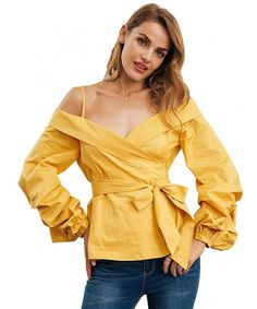 Women's Sexy Cold Shoulder Lantern Sleeve Belted Blouse - Yellow - CV180D28Z4Y,Women's Clothing, Sweaters, Pullovers  #Sweaters #style #fashion #outfits #Pullovers
