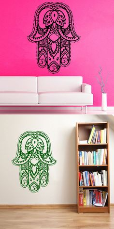 2016 Fatima Hand Wall Decorative Vinyl Indian Lotus Wall Stickers Home Decor Removable Wall Decal Sticker $24.33
