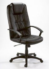Another firm favourite with it's comfortable black pleather upholstery, this affordable office chair has a 3 year guarantee Black Leather Chair, Bonded Leather, Upholstery, Chairs, Tapestries, Reupholster Furniture, Stool, Side Chairs, Chair