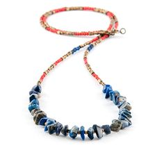 Boho chic ethnic lapis necklace / Simple delicate gemstone