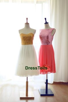 Silver/Gold/Pink Chiffon Prom Dress/Sequin Tulle Bridesmaid Dress/Reception Dress Strapless Sweetheart Knee Short Dress on Etsy, $109.99