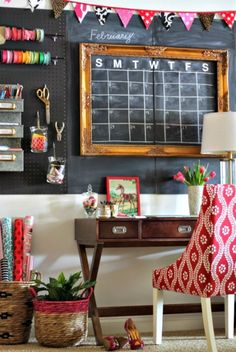 Carmel, from the blog Our Fifth House, turned a wall into a brainstorming space courtesy of a coat of chalkboard paint. (A frame and a hand-sketched calendar also help her keep track of deadlines.) A wall organizer offers the perfect place to stash flat supplies like envelopes and paper.