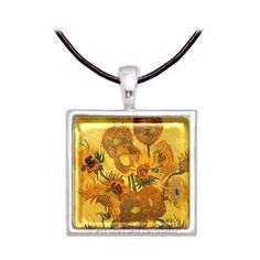 Van Gogh Sunflowers necklace with leather cord or chain, part of our Van Gogh jewelry collection. Made in the U.S.A.