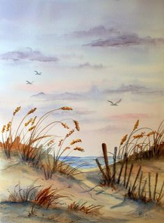 Watercolor of Beach Seascape Birds Flying by Colorado Artist Martha KIsling