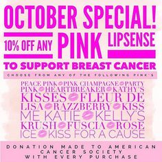 October special! From now until the end of the month I'll be offering 10% off all pink lipsense  pink glitter gloss and donating a portion to the American Cancer Society.  with every Kiss for a Cause color sold SeneGence will donate $1 to a nonprofit organization to support cancer research. #breastcancermonth #lipsense #kissablesUT