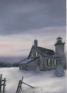 Christmas Lights-Eagle Harbor Lighthouse -- Fred Bridenhagen