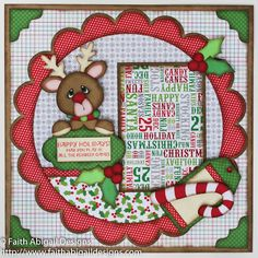 """Faith Abigail Designs - Reindeer Games 12""""x12"""" Single Page Scrapbook Layout and Video Tutorial - Little Scraps of Heaven Designs"""