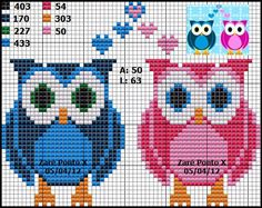 Owls hama perler beads pattern -Sandrinha Ponto Cruz