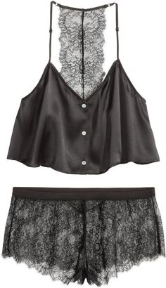 Pin for Later: 18 Things to Wear If You're Staying in For Valentine's Day  H&M Pajamas in Silk and Lace - Black - Ladies ($70)