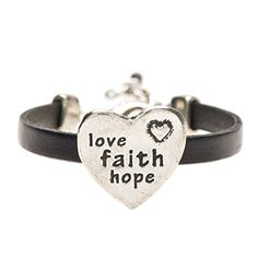 Love Faith Hope Pewter and Black Leather Bracelet *** Want to know more, click on the image.