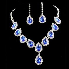 Wedding Bridal Bridesmaid Crystal Necklace Earrings Jewelry Set  – USD $ 10.99