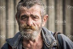 Portrait of homeless man royalty-free stock photo