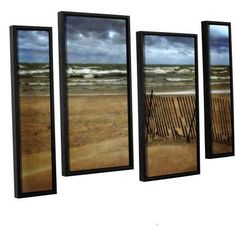ArtWall Kevin Calkins Snow Fence and Waves 4-Piece Floater Framed Canvas Staggered Set, Size: 24 x 36, Blue