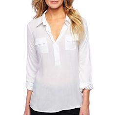 a.n.a® Roll-Sleeve Shirt - jcpenney