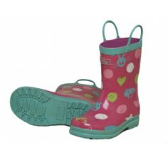 Hatley Scribble Dots Wellies £21.99. Pink boots with green contrast edging and pull on handles.