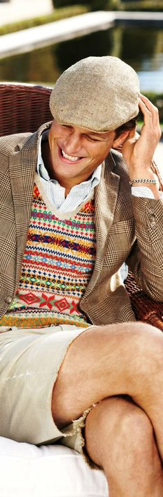 fair isle + prince of wales pattern mix by Ralph Lauren Preppy Men, Preppy Style, Men's Style, Nerd Style, Ivy Style, Male Style, Ralph Lauren Brands, Polo Ralph Lauren, Classic Outfits