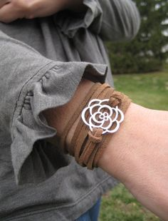 Leather Wrap bracelet, silver flower charm, brown leather wrap bracelet