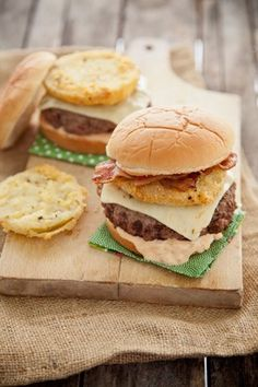 Check out what I found on the Paula Deen Network! Fried Green Tomato Burgers http://www.pauladeen.com/recipes/recipe_view/fried_green_tomato_burgers